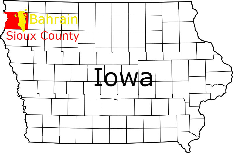 Sioux County with Bahrain Map